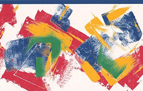 Rosso giallo blu verde bianco astratto bordo per carta da parati a righe di design, roll 15'x 17,1cm
