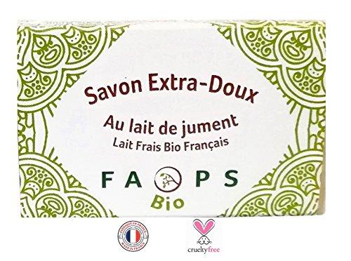 Savon 100 g Français au lait de Jument frais Bio.100% Naturel,Végétal sans Sulfates,Silicones,Parabens, EDTA,MIT,Alcool,Colorants,OGM,huile de palme,minérale,pétrochimie.Non testé sur animaux,
