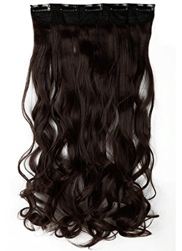 Premium Long Curly Wavy 24inches Medium Brown 3/4 Full Head Synthetic Hair Extensions Clip on Hairpieces Women Ladies Hair Accessories