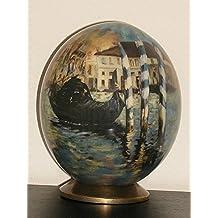 """UOVA DI STRUZZO DECORATE con motivo """"Blue Venice"""" di Manet (1874)"""