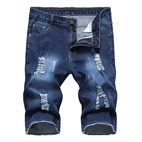 ❤❤JiaMeng Damen Elastic Destroyed Jeanshosen, Casual Leggings Kurze Hosen Denim Shorts Ripped Jeans Sommer Mode Frauen Einfarbig Shorts