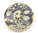 SiAura Material 10x Holzknöpfe mit Blumenmotiv XXL