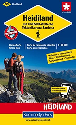 Wanderkarte Heidiland mit UNESCO-Welterbe Tektonikarena - Sardona mit Ortsindex (33) (Kümmerly+Frey Wanderkarten)