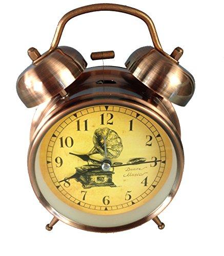 GMMH Tischuhr Nostalgie Antik Vintage Retro Metall Standuhr Wecker Uhr Design (14-7)