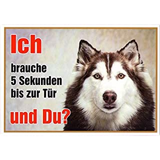 Siberian Husky Pack Approx. 21 x 15 cm Laminated Water-Resistant Ich Brauche 5 Sekunden bis zur Tür und du. Can be used indoors and outdoors