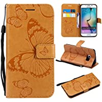 Kucosy Galaxy S6Edge Wallet Case Retro Mariposas Cartera Piel