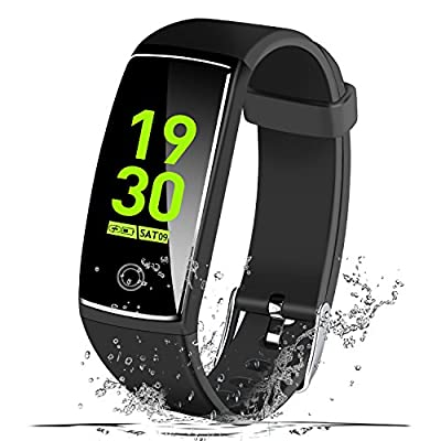 """MSDJK IP67 Waterproof Fitness Tracker, 0.96"""" HD Color Screen Activity Tracker with Heart Rate&Blood Pressure Monitor, Wearable Smart Bracelet Pedometer Watch with Sleep Monitor(black) from MSDJK"""
