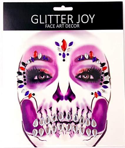 elsteine   Body Jewels Temporäre Tattoos machen Gesicht Art Tag der Toten Schädel Halloween Fancy Dress (Harlekin) ()
