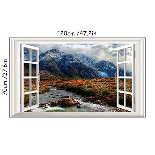 HYYDHD 120 * 70 cm Naturkulisse Wandbild Magnificent Snowy Mountains 3D Gefälschte Fenster Wandaufkleber Wohnzimmer Dekoration