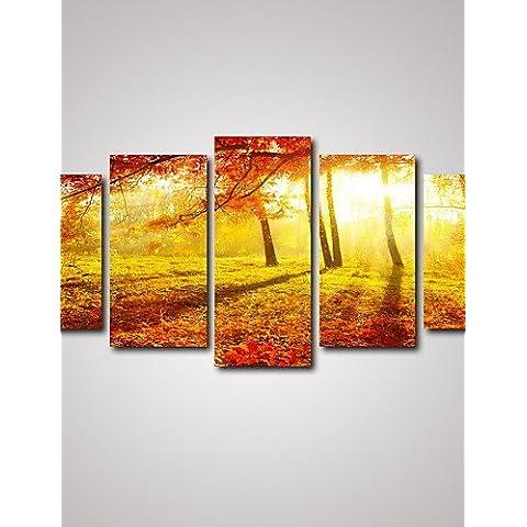 5 paneles Otoño Bosque y paisaje deja la impresión de imágenes de arte mural sobre lienzo sin