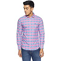 United Colors of Benetton Men's Checkered Slim Fit Casual Shirt (18P5MA55U008I_Pink_EL)