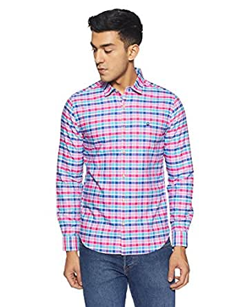 United Colors of Benetton Men's Checkered Slim Fit Casual Shirt (18P5MA55U008I_Pink_XL)