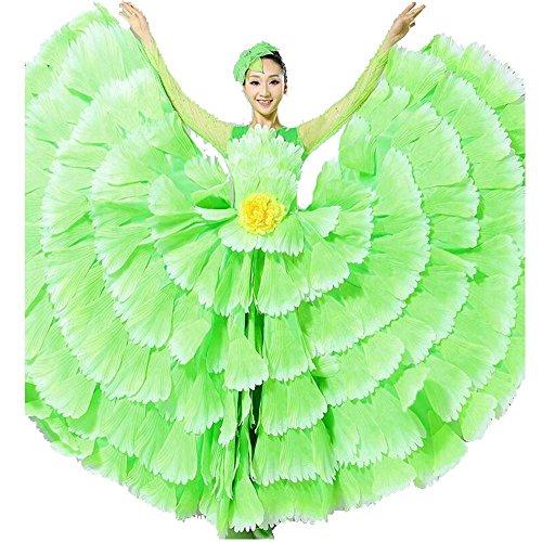 Wgwioo Frauen Flamenco Kleid 180 360 540 720 Degreen Blumen Doppel Ärmel Blütenblätter Rock Eröffnung Großen Modernen Tanz Chor Kostüme, Green Skirt 360, L