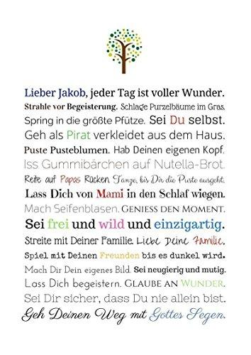 Taufgeschenk Junge | Personalisiertes Bild als Geschenk zur Taufe für Kinder und Babies in DIN A4 - Ideal als Gastgeschenk von Taufpaten - 6