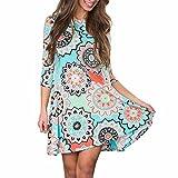 Women Blouse ,Womens Summer Vintage Boho Maxi Evening Party Beach Floral Dress (M, Blue)