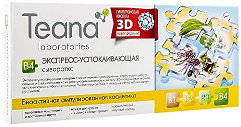 Teana Apaisant-Express - Sérum pour le visage contre les inflammations et les rougeurs de la peau Mélange unique de vitamines et haute concentration de gel d'acide hyaluronique - 10x2 ml - Ampoule cosmétique bioactive série