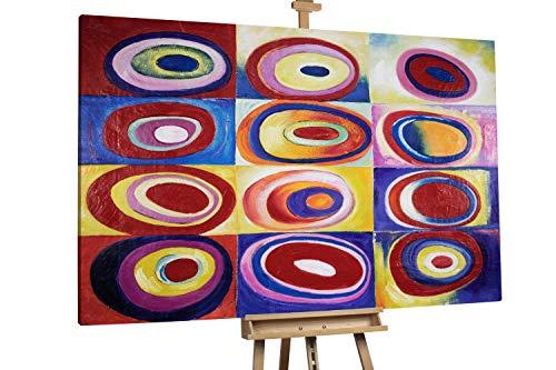'Formkontraste' 175x115cm | Farbstudie Quadrate konzentrische Ringe Kandinsky | Modernes Kunst Ölbild