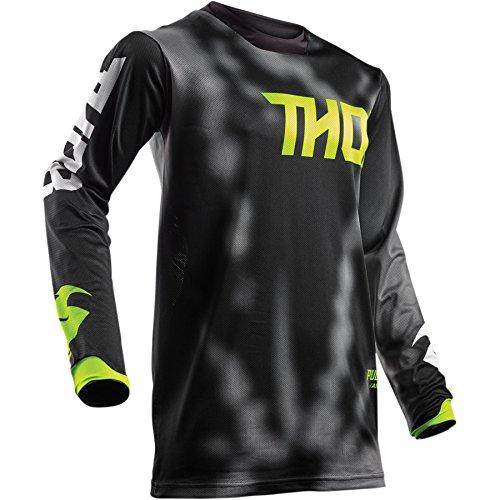 Thor Pulse Air Radiate Motocross Jersey Trikot Shirt Enduro Offroad Sx Mx MTB BMX Schwarz Blau Rot (XL, Schwarz)