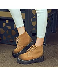 &ZHOU Botas otoño y del invierno botas cortas mujeres adultas 'Martin botas botas Knight A5-1 , camel , 39
