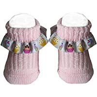 Bianchi Sockmaker In Italy Since 1932 - Booties Newborn Pink With Ribbon