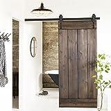 tinkertonk 6 FT/183cm Black Retro Style Sliding Barn Wood Door Hardware Closet Set For Single Wooden Door