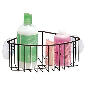 mdesign duschablage mit saugnpfen frs badezimmer praktischer duschkorb zum hngen fr die ecke duschzubehr - Duschablage Ecke