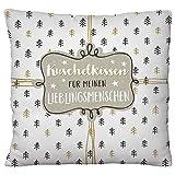 Happy Life Plüschkissen Kuschelkissen für Meinen Lieblingsmenschen, Polyester, Beige/schwarz/weiß, 25 x 25 cm