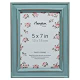 Hampton Frames, PAL301957B Paloma - Cornice Quadrata per Foto, 13 x 18 cm, Finitura in Legno Invecchiato, Colore: Blu Chiusura con Clip Girevole Nera sul Retro. Scatola Individuale
