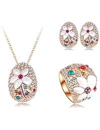 AnaZoz Joyería de Moda Juegos de Joyas de Mujer Juego de Flor 18K Chapado en Oro Rosa Cristal Colgante Collar/Pendiente/Anillo