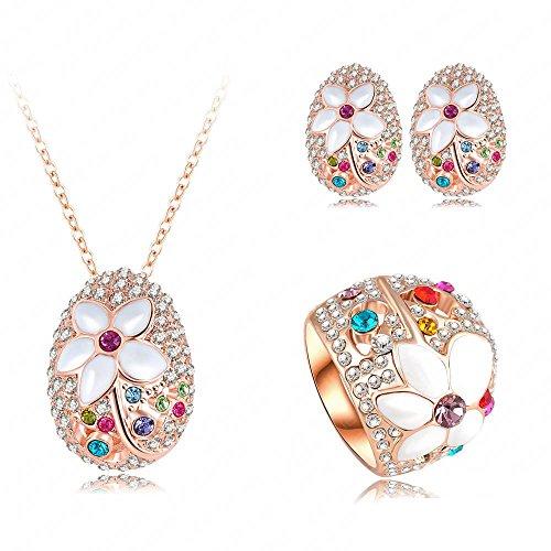 AnaZoz Joyería de Moda Juegos Para Mujer Juego de Flor 18K Chapado en Oro Rosa Cristal Colgante Collar/Pendiente/Anillo Tamaño 20