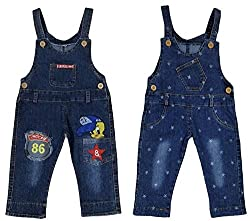 Miss U Girls Wear High Quality Soft Applique Overall Jumper Pants Romper Playsuit Denim Dungaree (19 (4-5 Years), TWEETT STAR)