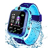 Smartwatch per bambini IP67 impermeabile - Smart Watch LBS Tracker Touch Screen Camera SOS Caller Monitor Remote Boy Girl regalo di Natale Regalo di compleanno(Blue)