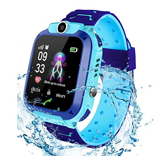 Smartwatch per bambini IP67 impermeabile - Smart Watch LBS Tracker Touch Screen Camera SOS Caller Monitor Remote Boy Girl regalo di Natale Regalo di compleanno?Blue?