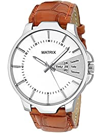 Matrix Analog White Dial,Brown Leather Strap Day Date Boys & Men Watch-DD-WH-LTH-1