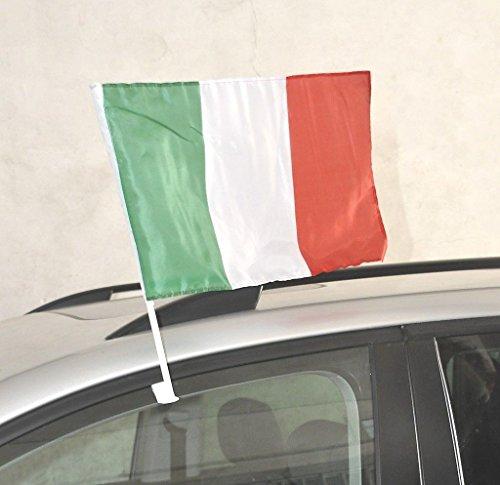 G.V. 2 Bandierine Italia con Supporto Asta per Auto cm 30x45 Nazionale Italiana Tessuto Resistente