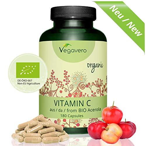 Vitamina C de Acerola Orgánica | Producto BIO | TESTADO EN LABORATORIO | Sistema Inmunológico + Resfriados + Piel + Antioxidante | 180 Cápsulas | Vegavero