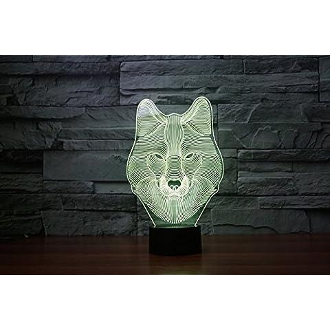 lampada 3D acrilico lupo luci colorate della