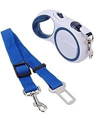 Foxpic 3M Correa Restráctil Automática Extensible Arnés Nylon de Tracción para Mascotas Perros Hasta 15KG/33LBS con Correa de Seguridad de Perro en Coche - Gris Azul