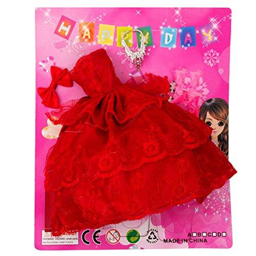 Wudi Barbie Doll Dress Outfits mit Kleidung mit Ohrringe, Frisur, Mode-Accessoires Kleid Brautschuhe für Mädchen Geburtstags-Geschenk (rot)