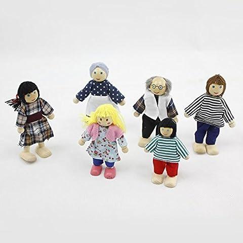 6Lovely Familie Puppen Spielset Holz Figuren Set für Kinder Haus Pretend Geschenk