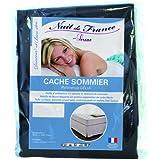 Nuit de France 329370 180/200 Cache Sommier Déco Coton Anthracite 200 x 180 x 1 cm