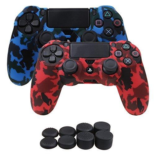 YoRHa Wasser Transfer Druck Tarnung Silikon Hülle Abdeckungs Haut Kasten für Sony PS4/slim/Pro Controller x 2 (rot + blau) Mit Pro aufsätze thumb grips x 8