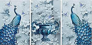 SND UV Textured Peacock Set of 3 Modern Art Print MDF Frame Painting for Living Room Wall for Home Decoration (18 X 12 inch,18 X 12 inch, 18 X 12 inch) Water Proof Wall Art Scenery SNO12