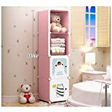 Kombination Garderobe Lagerung Cartoon Einfache Montage Kind Garderobe Kunststoff Schrank (Farbe : Rosa, größe : 4)