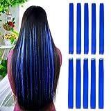 Extensiones de pelo liso de color azul de 55,88 cm con reflejos para fiestas, 10...