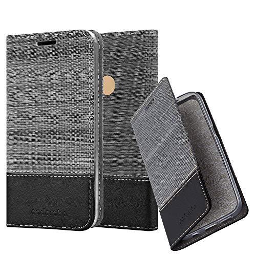 Cadorabo Hülle für WIKO View MAX - Hülle in GRAU SCHWARZ - Handyhülle mit Standfunktion & Kartenfach im Stoff Design - Case Cover Schutzhülle Etui Tasche Book