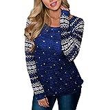 Soupliebe Frauen Langarm Pullover Sweatshirt Rot Weihnachten Print T Shirt Tops Kapuzen Sweatjacke Kapuzenpullover Hoodie Pullover Sweatshirt