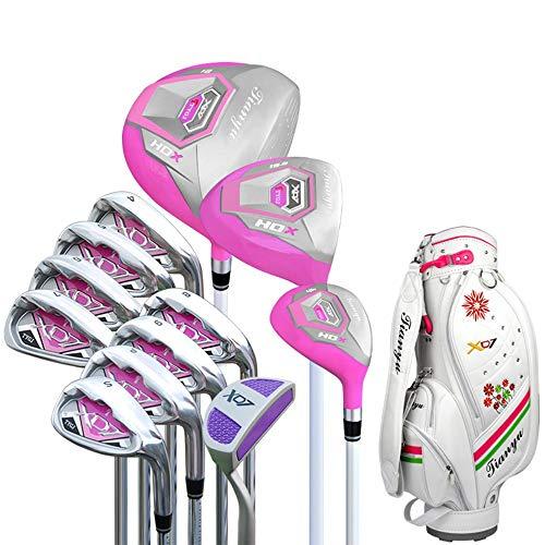 Guolipin set sacche da golf pink golf putter golf practice club set per signore con guanti donna golf principiante set da 12 pezzi golf club il miglior regalo per gli appassionati di golf