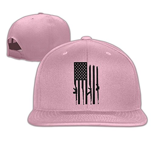 American Gun Flag Unisex Causal Fitted Flat Bill Boarder Cap For Men and Women Pink (Flag American Fitted T-shirt)