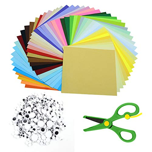 Origami Paper Set,100 Sheets 15cm Double-Sided Square Origami Paper in 50  Vivid Colour+200pcs Wiggle Googly Eyes+Scissors for Arts and Crafts